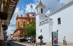 花市场广场和新的大教堂,厄瓜多尔 免版税库存图片