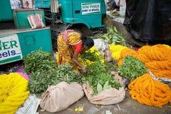 花市场,加尔各答,印度 图库摄影