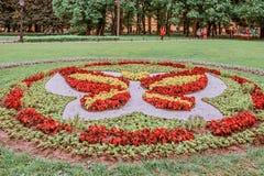 花床在以撒,圣彼德堡,俄罗斯附近的公园 库存图片