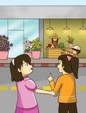 花店和小女孩 免版税库存图片