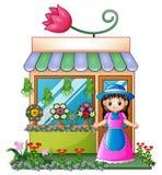 花店的卖花人女孩 库存例证