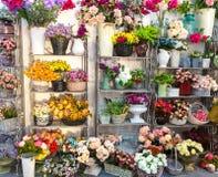 花店,在架子,卖花人事务的花束 免版税图库摄影