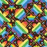 花彩虹闪烁转动金刚石形状无缝的样式 向量例证