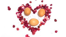 花心脏和蛋隔离 免版税库存图片