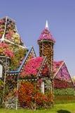 花惊人的五颜六色的房子在奇迹庭院里 免版税图库摄影
