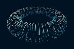 花托 连接结构 花托形状Wireframe 网际空间栅格 在黑暗的背景的发光的滤网 图库摄影
