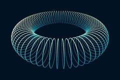 花托 连接结构 花托形状Wireframe 网际空间栅格 在黑暗的背景的发光的滤网 免版税库存照片