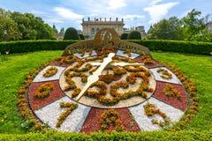 花时钟在Stadtpark,维也纳,奥地利 免版税库存图片