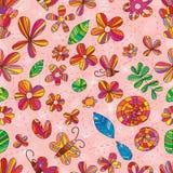 花昆虫颜色无缝的样式 库存照片