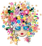 花有玻璃向量illustratio的春天女孩 免版税图库摄影