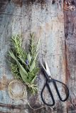 花束与串的Garni在难看的东西木材Ba的草本和剪刀 图库摄影