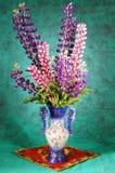 花束仍然生活lupines花瓶 库存照片