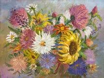 花束在帆布的绘画油 库存图片