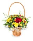 花束在篮子的排列焦点 图库摄影
