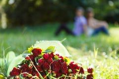 花束在绿草的红色玫瑰。 夫妇在背景中 免版税图库摄影