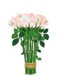 花束开花粉红色 玫瑰栓与绳索 在空白里面 免版税库存照片