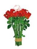 花束开花红色 玫瑰栓与与信封的一条绳索 免版税库存照片