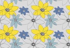 花束弓形象花纹花样无缝小 与黄色和蓝色花的灰色背景 库存例证
