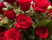 花束接近的红色玫瑰色玫瑰 图库摄影