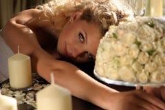 花束新娘蜡烛 库存照片