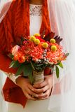 花束新娘递婚礼 库存照片