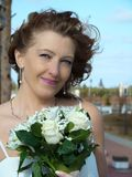 花束新娘递婚礼 免版税库存照片