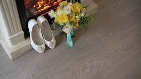 花束新娘鞋子 影视素材
