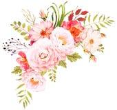 花束明亮的花照片向量 婚姻的邀请的装饰构成 皇族释放例证