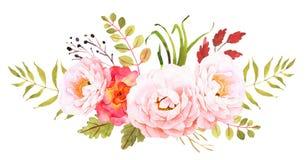 花束明亮的花照片向量 婚姻的邀请的装饰构成 库存例证