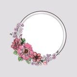 花束明亮的花照片向量 花卉水彩框架 免版税库存照片