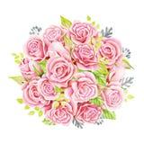 花束桃红色玫瑰 额嘴装饰飞行例证图象其纸部分燕子水彩 逗人喜爱的葡萄酒样式花圈,边界,框架 图库摄影