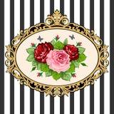 花束框架玫瑰色葡萄酒 库存照片