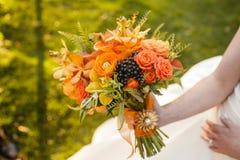 花束橙色婚礼 库存图片