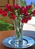 花束水晶花百合红色花瓶 库存照片