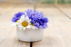 花束浅春黄菊的矢车菊dof 库存图片