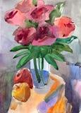 花束玫瑰花瓶 免版税库存图片