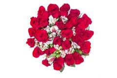 花束玫瑰顶视图 免版税库存照片