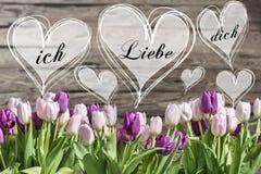 花束白色和桃红色郁金香和心脏框架与德国词我爱你 免版税库存照片