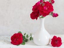花束红色玫瑰花瓶 库存照片