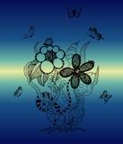 花束花卉花例证向量 蓝色云彩图象彩虹天空向量 免版税库存图片