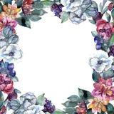 花束花卉花 水彩背景例证集合 水彩图画 框架边界装饰品正方形 皇族释放例证