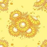 花束花纹花样无缝的黄色 免版税库存图片