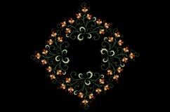 花束被绣的框架与风格化橙色花和曲线叶子的在黑背景 库存图片