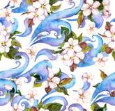 花束装饰编辑可能的花卉花现代装饰品向量 水彩无缝的样式 库存照片