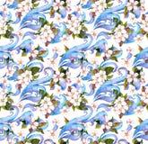 花束装饰编辑可能的花卉花现代装饰品向量 水彩无缝的样式 免版税库存照片