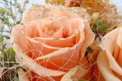 花束详细资料桔子玫瑰 库存照片