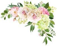 3花束重点前景婚礼 牡丹、八仙花属和玫瑰色花水彩il 向量例证