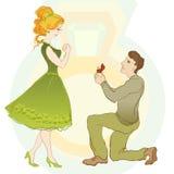 花束金刚石订婚结婚提议环形玫瑰 人给圆环他的女孩 库存例证