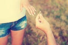 花束金刚石订婚结婚提议环形玫瑰 图库摄影