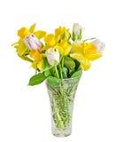 花束,与黄色黄水仙,白色郁金香的植物布置 免版税库存图片